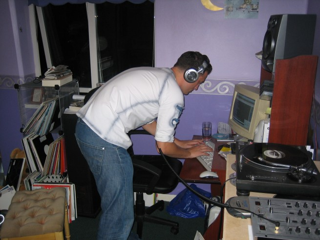 Spot the ingenius filing system for the vinyl, and the ever-trusty Discman!